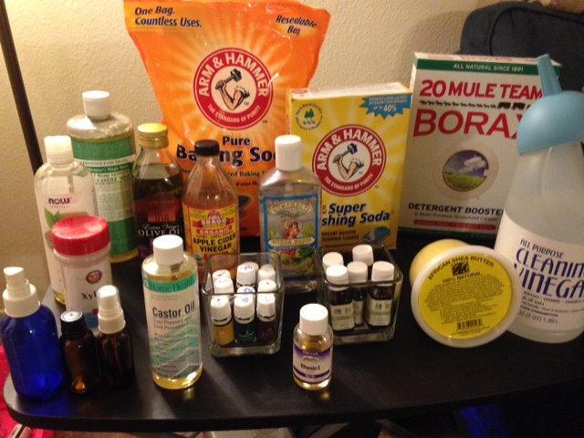 """Here are most of my staples. I say most because I forgot to add the coconut oil to the picture. I was """"melting"""" it."""